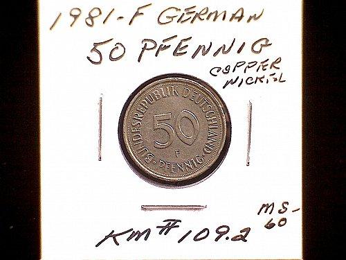 1981F GERMANY FIFTY PFENNIG