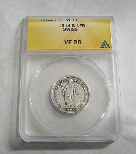 1914-B Silver Switzerland Swiss Helvetia 1 Franc Coin - VF20 ANACS