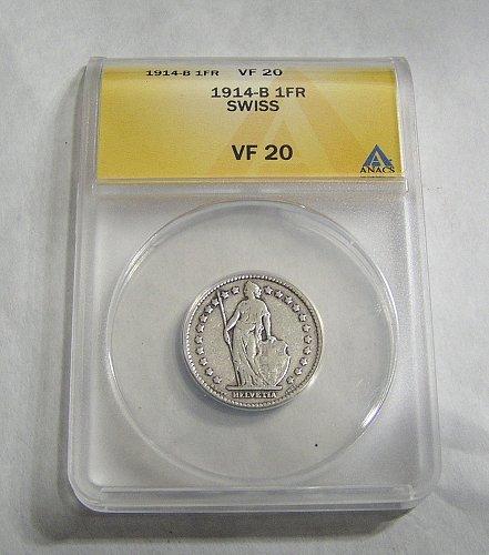 1914-B Silver Switzerland Swiss Helvetia 1 Franc Coin - VF20 ANACS
