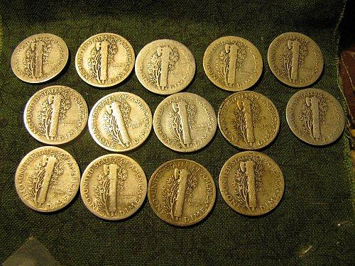 2x24P, 24D , 24S,3x25P, 25S, 3x26P, 3x26D Mercury Dimes tot 14 +2 FREE Dimes A-8
