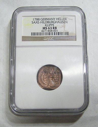 1788 German States SAXE-HILDBURGHAUSEN 1 Heller - MS63BN Germany