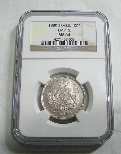 1889 Brazil Empire 100R Reis - graded MS64 by NGC