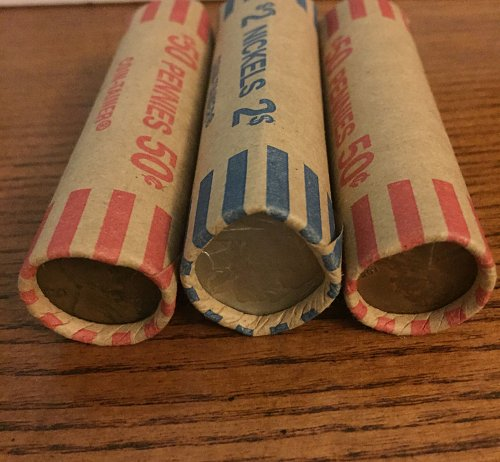 Three Rolls of Wheat Cents UNSEARCHED Plus one buffalo nickel 151 coins