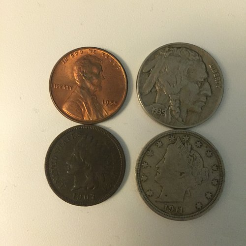 Lot of Four Coins Buffalo Nickel, Indian Cent, Wheat Cent, Liberty Nickel