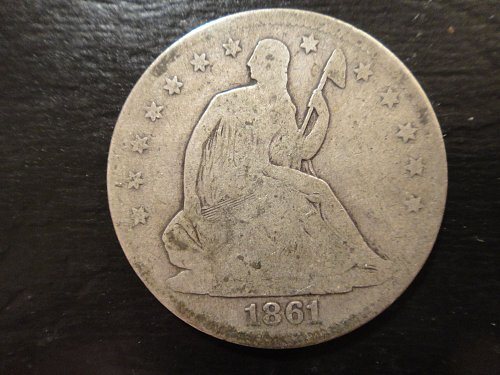 1861 Seated Liberty Half Dollar Good-6 Very Nice Original Old Silver Patina!