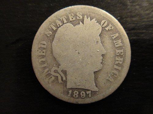 1897-S Barber Dime Good-4 Nearly Full Obv & Rev Rims!