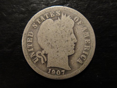 1907-O Barber Dime Good-4 Full Rims & Minimal Marks For Grade!