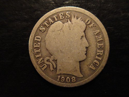 1908-D Barber Dime Good-4 Decent Example With Full Rims!