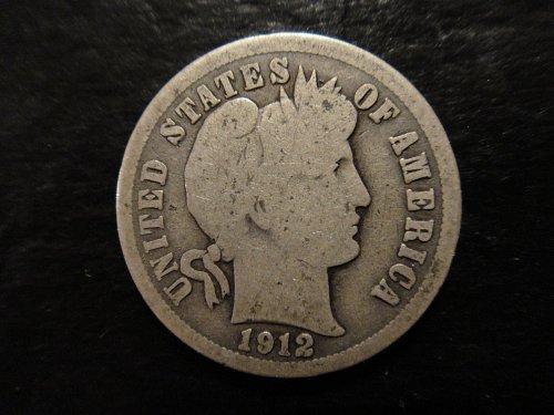 1912 Barber Dime Good-4 Nice Full Rims With Nice Original Patina!