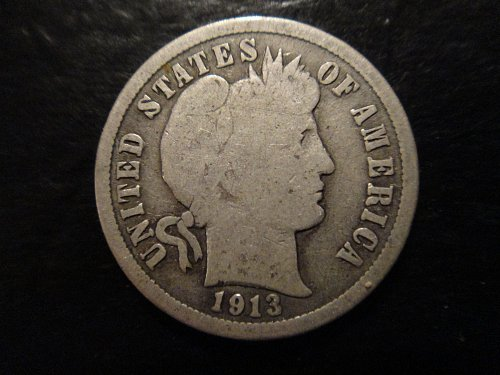 """1913 Barber Dime Good-4 with Full """"Y"""" in """"LIBERTY"""" on Obverse!"""