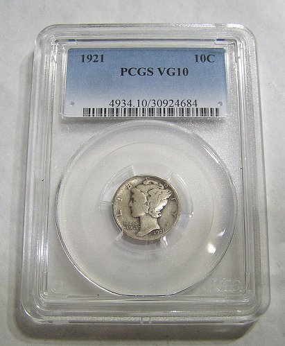 1921 Mercury Dime - Graded VG10 by PCGS!