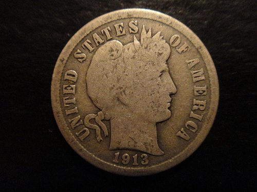 1913 Barber Dime Good-4+ Strong For Grade Nearly All Obv Leaves Show!