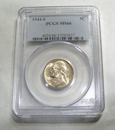 1944-S Jefferson Nickel Wartime Silver - Graded MS66 by PCGS