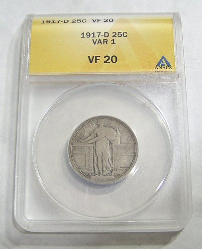 1917-D Type 1 Standing Liberty Quarter - graded VF20 by ANACS