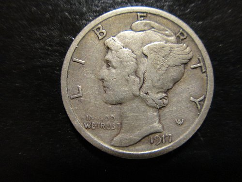 1917-S Mercury Dime Very Fine-30 Sharp Axe Lines & Feathers For Grade!