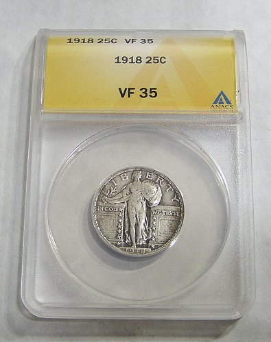 1918 Standing Liberty Quarter - Graded VF35 by ANACS