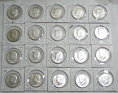 Lot of (20) 1965-1969 Kennedy Half Dollars 40% Silver AU/BU