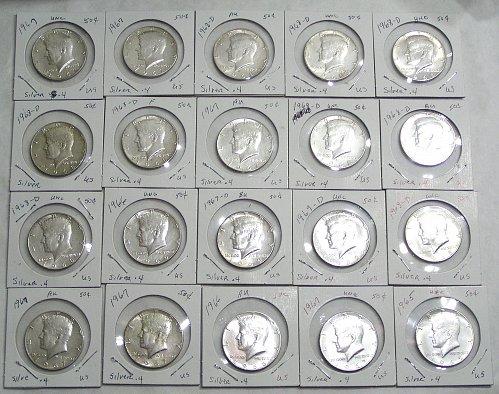 Lot of (20) 1965-1969 Kennedy Half Dollars 40% Silver AU/BU