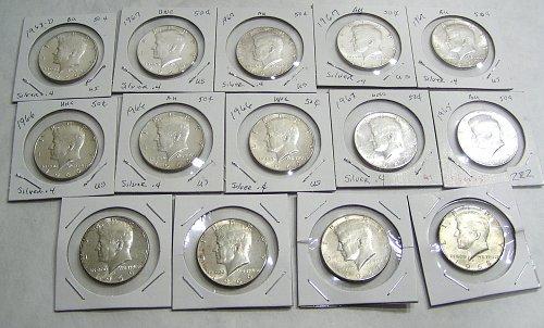 Lot of (14) 1965-1969 Kennedy Half Dollars 40% Silver AU/BU