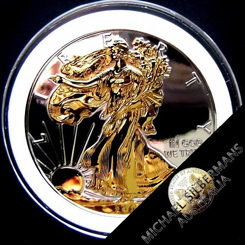 Silver Coin ASE YEAR 2015 ~DOUBLE GILDED ~ Proof Like Deep Mirrored