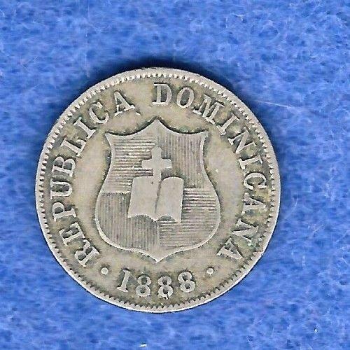 1888H DOMINICAN REPUBLIC 2 1/2 CENTAVOS km7.4