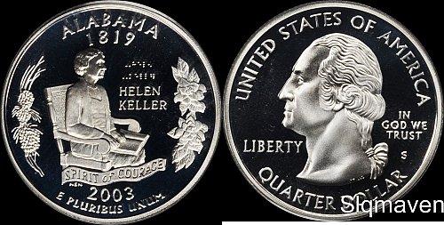 2003s silver proof quarter ala.