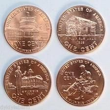 4-mint pennys 2009d,presidental,,log cabin,profeial life,log cut