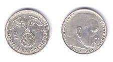 1939a german 2 marks silver with swastika