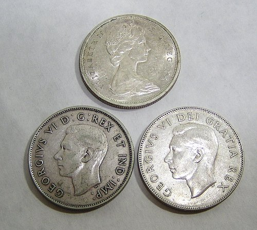 Lot of (3) Canadian Silver Half Dollars 1946 1952 1965