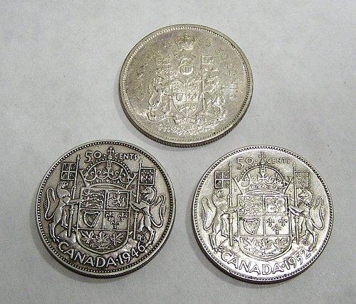 Lot of (3) Canadian Silver Half Dollars 1946 1952 1965