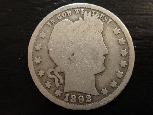 1892 Barber Quarter Good-4 With Minimal Marks & Nearly Full Rims!