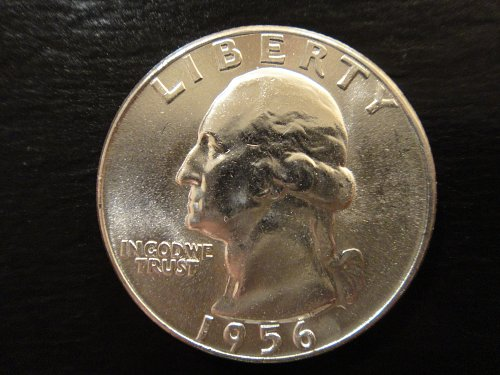 1956 Washington Quarter MS-64 (Near Gem) With Neat Reverse Die Crack!