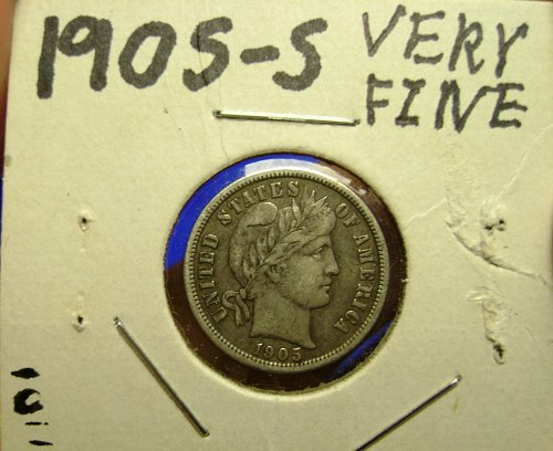 1905-S VF Very Fine Barber Dime Free Shipping