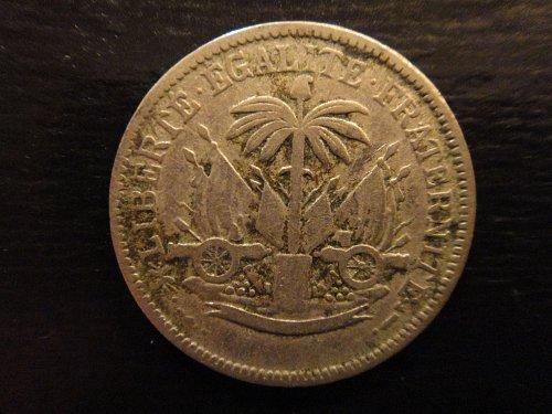 HAITI 5 Centaovs 1904-W Very Fine-20 KM#52 Nice Original Nickel Patina!