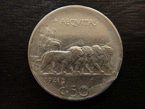 ITALY 50 Centesimes 1921-R Reeded Edge Extra Fine-40 K#61.1