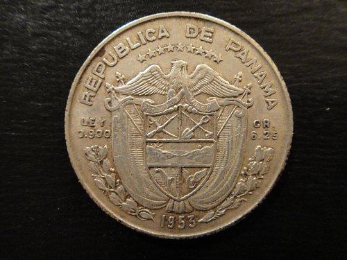 PANAMA 1/4 Balboa 1953 Extra Fine-40 90% SILVER 0.1808 ASW KM#19