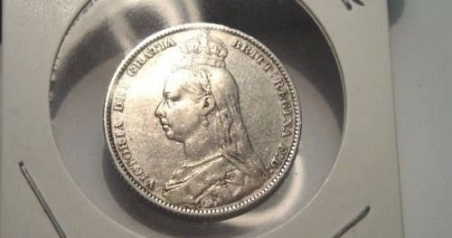 Nicely Detailed 1890 Shilling Great Britain 92.5% Silver Coin Holiday Sale!!