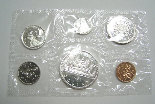 1963 Canadian Silver Mint Set 6 Coins Uncirculated Proof-Like