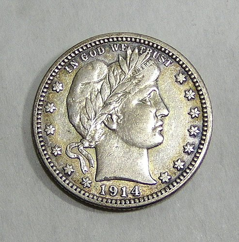 1914-D Barber Quarter - XF Condition