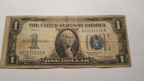 """1934  """"Funny Back"""" $1 Silver Certificate"""