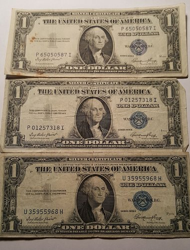 1935 E $1 Silver Certificate Lot of 3