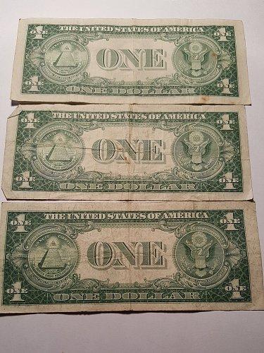 1935 E $1 Silver Certificate Lot of 3