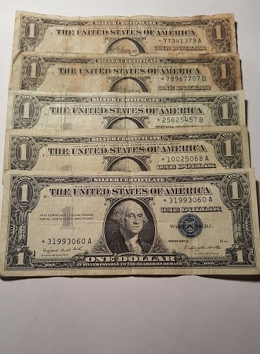 $1 Silver Certificate Star Notes Lot of 5
