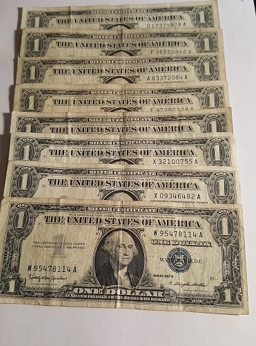1957 A&B $1 Silver Certificate Lot of 8