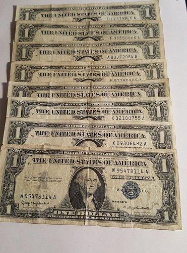 1957 A&B $1 Silver Certificate Lot of 8