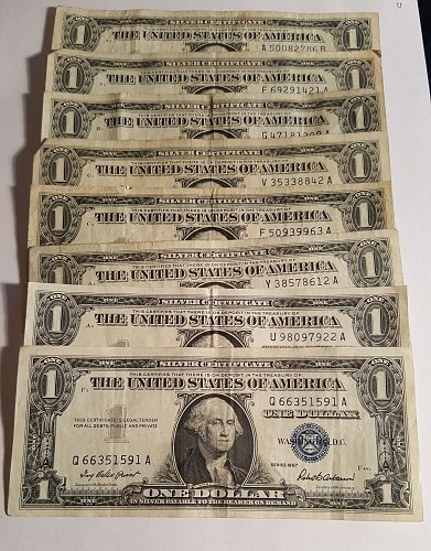 1957  $1 Silver Certificate Lot of 8