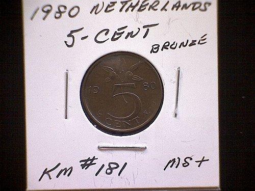 1980 NETHERLANDS FIVE CENT