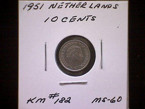 1951 NETHERLANDS TEN CENTS