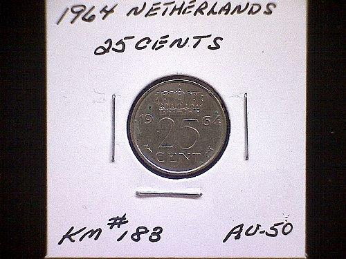 1964 NETHERLANDS TWENTY-FIVE CENTS