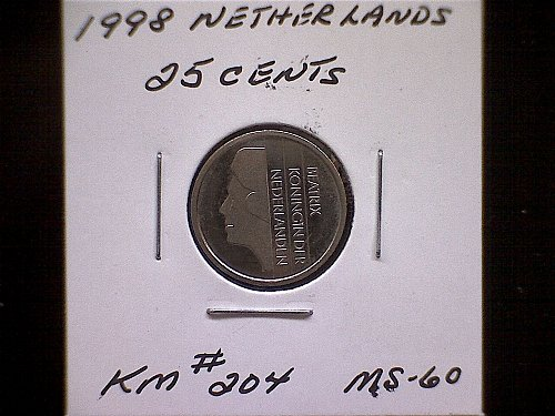 1998 NETHERLANDS TWENTY-FIVE CENTS
